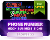 Neon Business Signs with Phone #'s