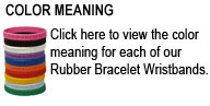 Click here to view the color meaning for each of our Hope Courage Faith Rubber Bracelet Wristbands