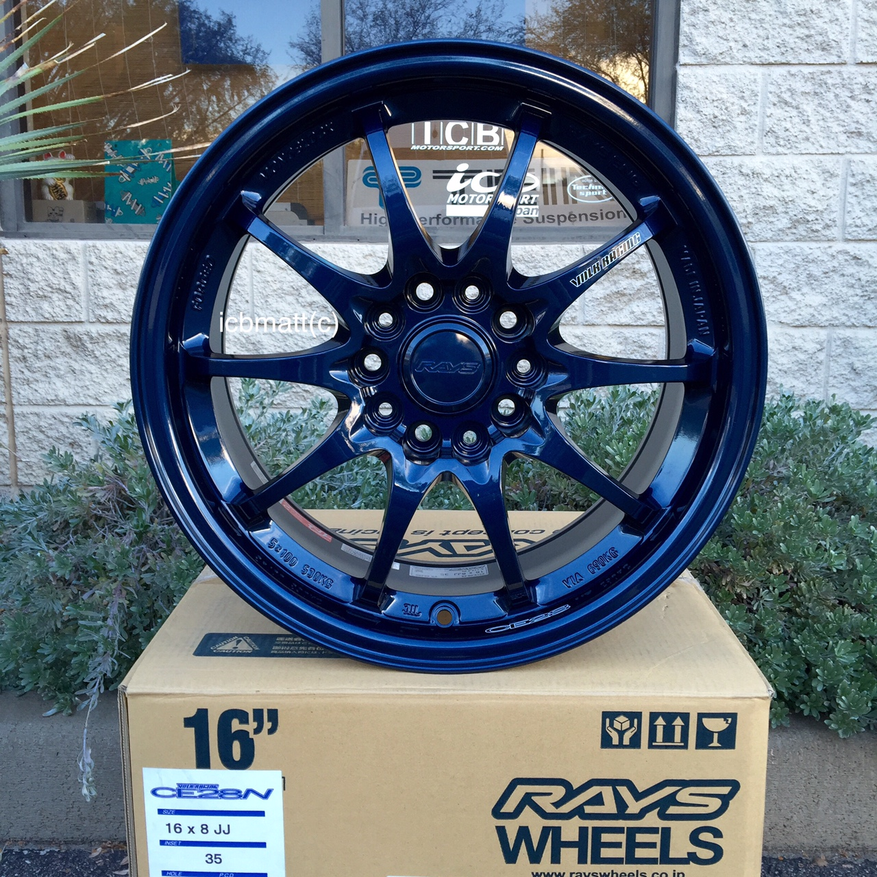 Rays Volk Racing CE28N Mag Blue Wheels Set 5X114.3 16X8