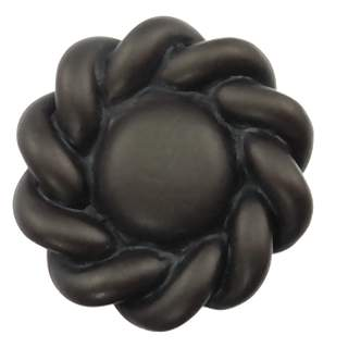 1 5/8 Inch Solid Pewter Roguery Style Knob (Bronze Black Wash Finish)