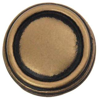 1 Inch Solid Pewter Sonnet Knob (Antique Brass Gold Finish)