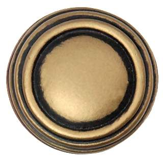 1 1/4 Inch Solid Pewter Sonnet Knob & Backplate (Antique Brass Gold Finish)
