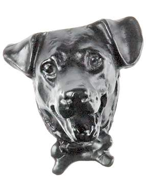 1 1/2 Inch Solid Pewter Jack Russell Terrier Knob (Matte Black Finish)
