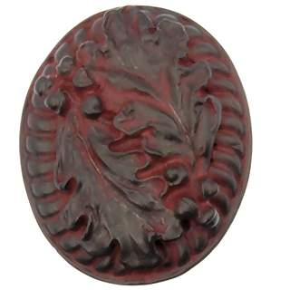 1 3/4 Inch Solid Pewter Oak Leaf Large Knob (Rust Finish)