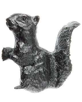 4 Inch Solid Pewter Squirrel (Left Facing, Matte Black Finish)