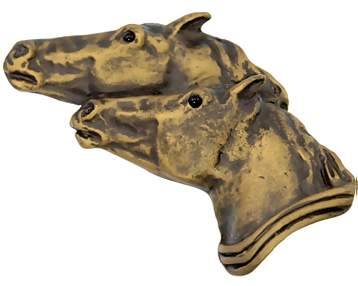3 1/2 Inch Large Solid Pewter Running Horses Knob (Antique Brass Gold Finish)