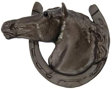 3 Inch Large Solid Pewter Lucky Horseshoe Horse Knob (Bronze Finish)