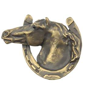 3 Inch Solid Pewter Horse in Horseshoe Knob (Rubbed Bronze Finish)