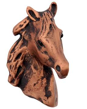 2 1/4 Inch Large Beauty Horse Knob (Antique Copper Finish)