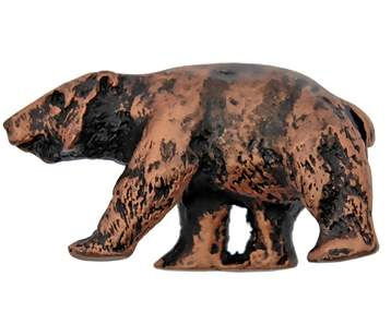 1 1/2 Inch Solid Pewter Grizzly Bear Knob (Left Facing, Antique Copper Finish)