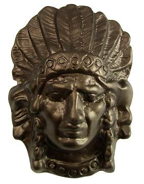 2 1/2 Inch Solid Pewter Indian Native American Chief Knob (Bronze Finish)