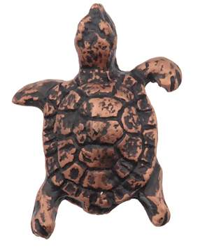 2 1/4 Inch Solid Pewter Turtle Pull (Antique Copper Finish)
