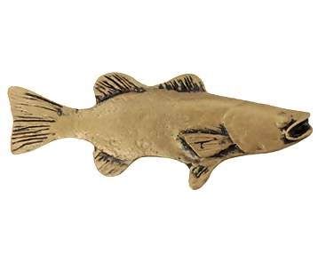 3 3/4 Inch Solid Pewter Large Bass Fish (Right Facing, Bright Pewter Finish)
