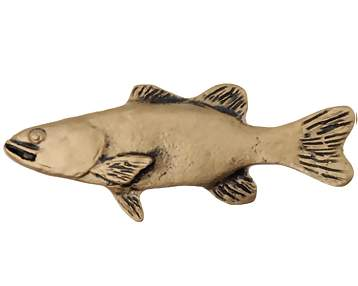 3 3/4 Inch Solid Pewter Large Bass Fish (Left Facing, Bright Pewter Finish)