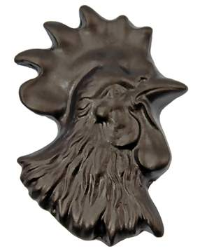 1 1/4 Inch Solid Pewter Chicken or Hen Knob (Right Facing, Bronze Finish)
