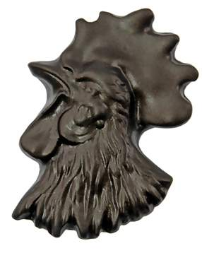 1 1/4 Inch Solid Pewter Chicken or Hen Knob (Left Facing, Bronze Finish)