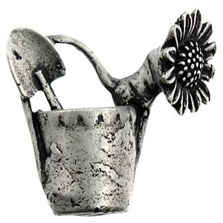 1 3/4 Inch Spring Watering Can Cabinet Knob (Right Facing, Matte Pewter Finish)