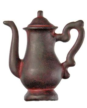 1 1/4 Inch Solid Pewter Teapot or Coffee Pot Knob (Left Facing, Rust Finish)