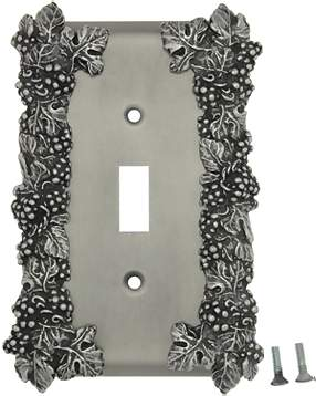 Grapes & Floral Wall Plate (Matte Nickel Finish)