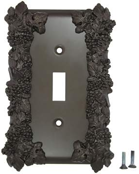 Grapes & Floral Wall Plate (Oil Rubbed Bronze Finish)