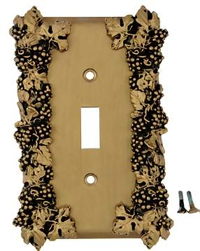 Grapes & Floral Wall Plate (Antique Brass Gold Finish)