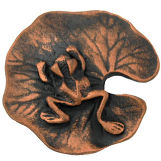 1 1/2 Inch Solid Pewter Lillypad and Frog Knob (Antique Copper Finish)