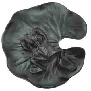 1 1/2 Inch Solid Pewter Lillypad and Frog Knob (Matte Black Finish)