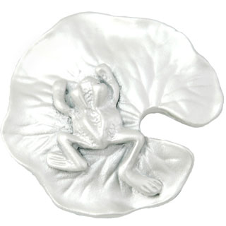 1 1/2 Inch Solid Pewter Lillypad and Frog Knob (Pearl White Finish)