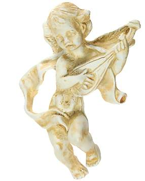 4 1/4 Inch Solid Pewter Cherub Knob With Mandolin Knob (Antique White Finish)