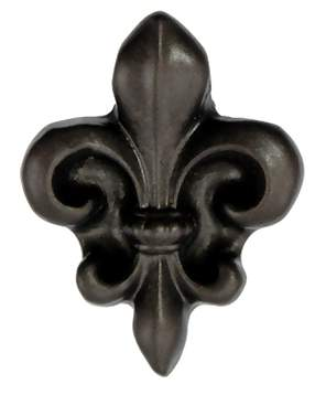 1 Inch Solid Pewter Small Fleur de lis Knob (Bronze Finish)