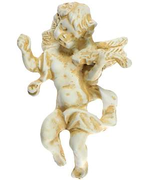 4 Inch Solid Pewter Cherub With Violin Knob (Antique White Finish)