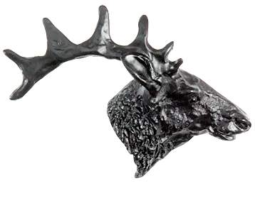 3 3/4 Inch Solid Pewter Western Elk Knob or Pull (Right Facing, Matte Black Finish)