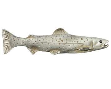 5 Inch Large Solid Pewter Trout Fish Pull (Pewter Bronze Finish)