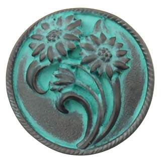 1 4/5 Inch Solid Pewter Shasta Daisy Flower Knob (Right Facing, Verdigris Finish)