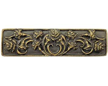 4 3/8 Inch Solid Pewter Carnation Pull (Rubbed Bronze Finish)