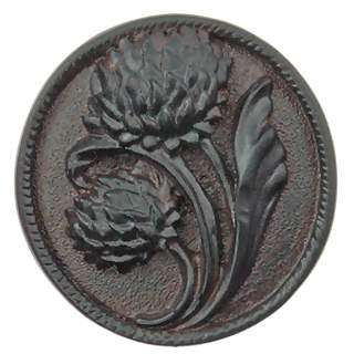 1 4/5 Inch Solid Pewter Japanese Chrysanthemum Flower Knob (Right Facing, Black Chocolate Finish)