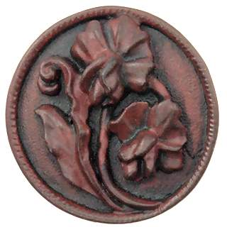1 4/5 Inch Solid Pewter Flower Knob (Left Facing, Rust Finish)