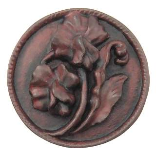 1 4/5 Inch Solid Pewter Flower Knob (Right Facing, Rust Finish)