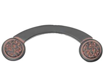 3 3/4 Inch Solid Pewter Sasha Curved Style Pull (Black Terra Cotta Finish)