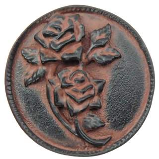 1 4/5 Inch Solid Pewter Roses Flower Knob (Left Facing, Black Terra Cotta Finish)