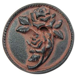 1 4/5 Inch Solid Pewter Roses Flower Knob (Right Facing, Black Terra Cotta Finish)