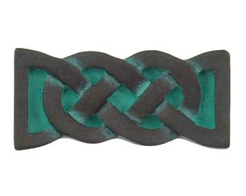 1 1/2 Inch Solid Pewter Celtic Aran Knob (Verdigris Finish)