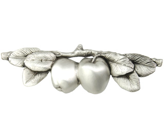 5 Inch Solid Pewter Apple Pull (Satin Pewter Finish)