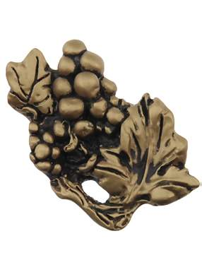2 1/2 Inch Solid Pewter Grapes Cluster Knob (Antique Brass Gold Finish)