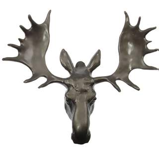 7 1/2 Inch Large Solid Pewter Moose Knob (Bronze Finish)
