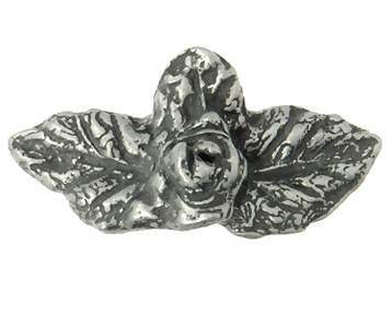 1 Inch Solid Pewter Rose With Leaves Knob (Matte Pewter Finish)