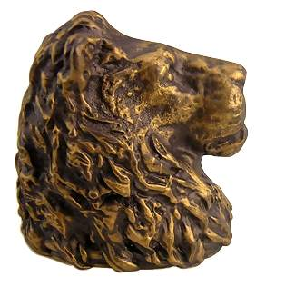 2 1/2 Inch Solid Pewter Lion Head Knob (Antique Brass Gold Finish)