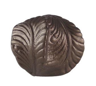 1 1/2 Inch Solid Pewter Fan and Feather Knob (Bronze Finish)