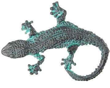 3 1/4 Inch Solid Pewter Lizard or Gecko Knob (Verdigris Finish)