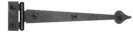 6 1/2 Inch Cast Iron Strap Hinge: Black Matte Iron Strap Hinge (Flush Finish)